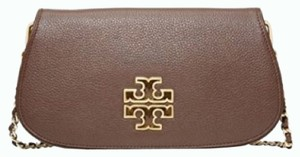 Tory Burch Britten Shoulder Pebbled Brown Clutch