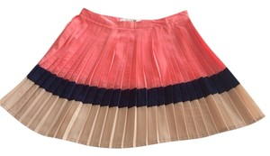 Forever 21 Pleated Pleated Mini Colorblocking Skirt Pink
