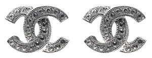 Chanel Chanel Classic Small CC Crystal Earrings In Silver