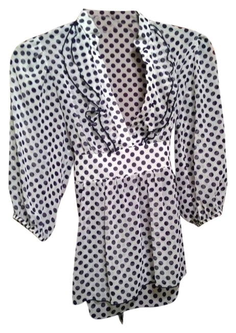 Karlie Polka Dot Top Navy/white