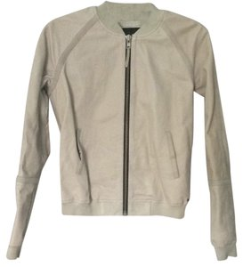 Scotch & Soda Stone Grey Leather Jacket