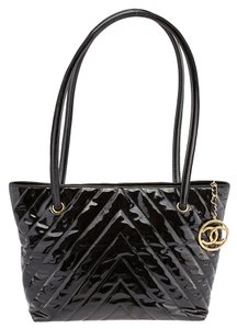 Chanel Chevron Quilted Tote in Black