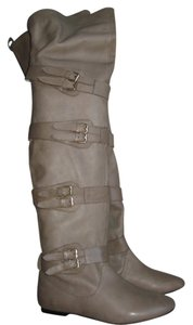 Matiko Leather Over The Knee Knee Taupe Boots