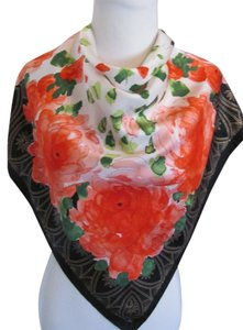 "Vera Neumann Vera Neumann // Colorful Floral Black Painted Silk Scarf // 34"" Inch 88cm Square"
