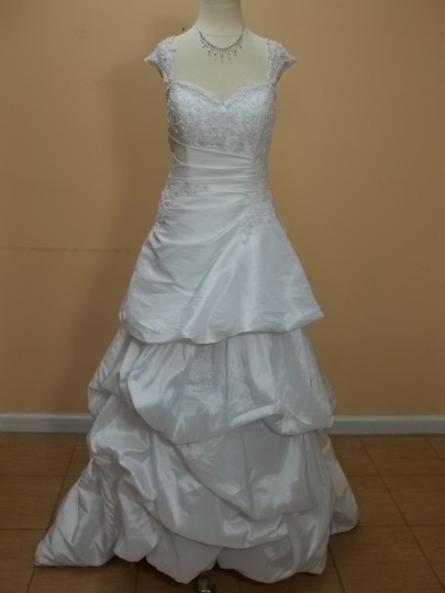 DaVinci Bridal White Taffeta Dv-8212 Formal Wedding Dress Size 12 (L)