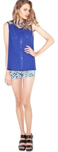 MINKPINK Blue Collared Sleeveless Cutouts Button Up Blue Dress Up Trendy Bright Blue Spring Top Navy