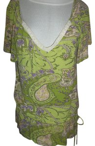 Other Lime Green Back Cotton Trim Paisley Cap Sleeves Top Lime Green/Purple/Tan