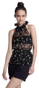 Corey Lynn Calter Sheer Floral Top black