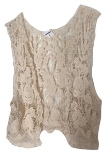 Express Floral Open Front Boho Lace Top Off White