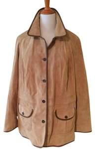 Eddie Bauer Leather Suede Beige Brown Tan Leather Jacket