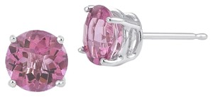 Apples of Gold Pink Sapphire Stud Earrings, 14K White Gold