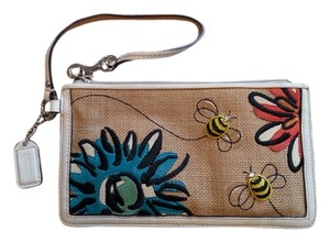 Coach Wristlet in Burlap with leather flowers and bees