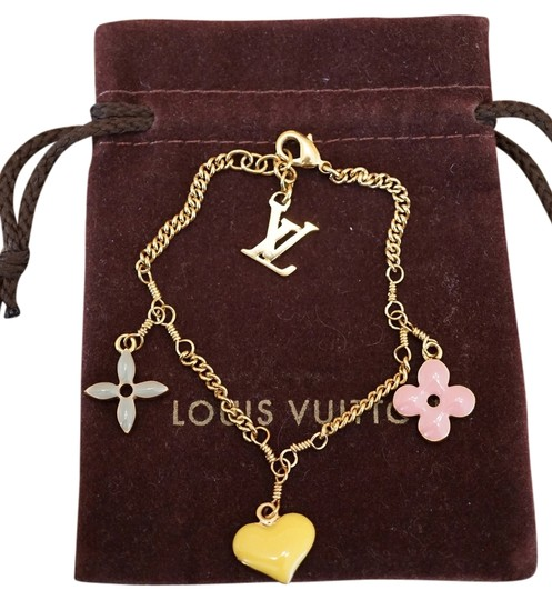 Louis Vuitton Multicolors Gold Plated Logo Bracelet - Tradesy