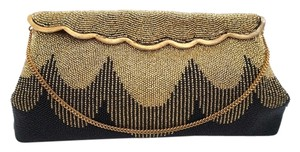 Joseph Vintage Handbag 1930's-1940's Evening Beaded & Beads Black & Gold Clutch