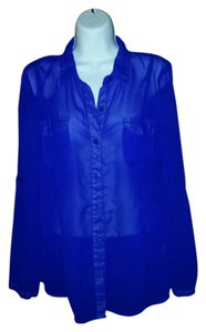 Charlotte Russe Button Down Shirt bright purple/blue
