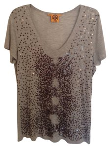Tory Burch Sequin T Shirt Gray