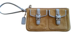 Coach Suede Wristlet in Tan with blue trim