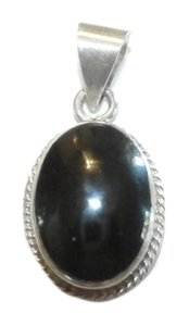 Vintage Sterling Silver Onyx Pendant