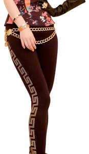 Versace for H&M Studded Silver Silk Black & Gold Leggings