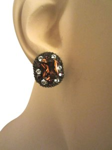 Sorrelli Sorrelli Amber Brown & White Swarovski Crystal Faceted Cluster Stud Earrings --Mint!