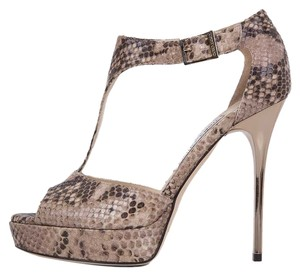 Jimmy Choo Snakeskin Gold Tan Platform Brown Sandals