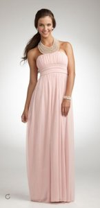 David's Bridal Pink Pearl Jeweled Necklace Halter Mesh Gown 8420y039 Dress
