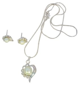 Boutique New Silver & Green Faux Pearl & CZ Gems Heart Necklace, Pendant & Earrings Set