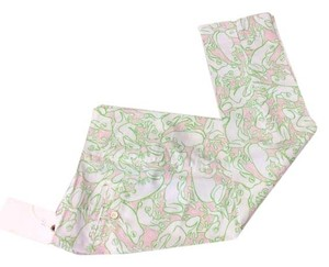 Lilly Pulitzer Frog Print Capri/Cropped Pants Pink green white