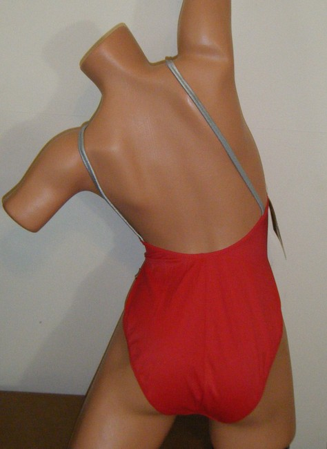 BLUE POINT SWIMSUIT 10 NWT BLUE POINY AUTH SOLID TANK MAILLOT W SILVER STRAPS