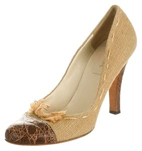 Prada Raffia Leather Beige & Brown Pumps