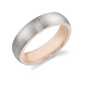 Apples of Gold Silver 14k White Rose (All Sizes) Men's Wedding Band