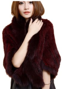 LUXURY FUR Wine red Leather Jacket