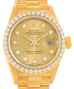 Rolex Rolex President Datejust Ladies 18k Yellow Gold Diamond Watch 69178