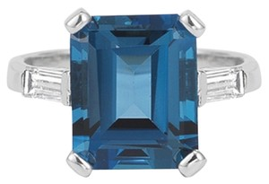 Apples of Gold 5 Carat Emerald-Cut London Blue Topaz and Diamond Ring