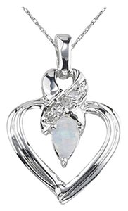 Apples of Gold Opal and Diamond Heart Pendant, 14K White Gold