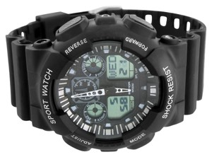 Mens Black Sports Watch Shock Resistant Digital-Analog Dual Display Brand New