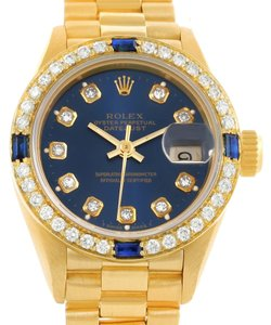 Rolex Rolex President Ladies 18k Yellow Gold Diamond Sapphires Watch 69138