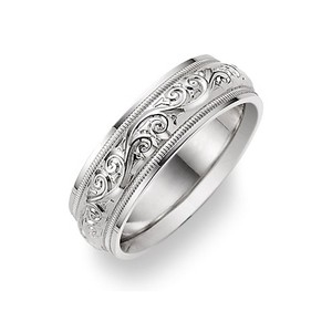 Apples of Gold Silver Paisley Ring (All Sizes Available) Men's Wedding Band
