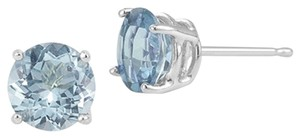 Apples of Gold Aquamarine Stud Earrings, 14K White Gold