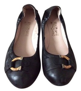 Salvatore Ferragamo Wicker Ballet Black Flats