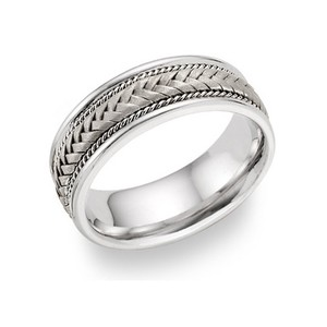 Apples of Gold Silver Braided Ring Men's Wedding Band