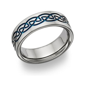 Apples Of Gold Blue Titanium Celtic Wedding Band Ring (all Sizes Available)