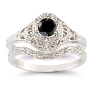 Apples Of Gold Black Diamond Bridal Set In .925 Sterling Silver (all Sizes)