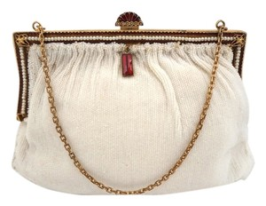 French Antique Vintage Art Deco Holiday Gift Cream Clutch