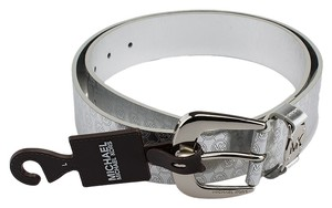 Michael Kors Michael Kors Silver Faux Leather Belt, Size L (52941)