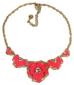 Kate Spade Kate Spade Beach House Bouquet Necklace NWT Geranium Sculptural Petals Accented with Pave Crystal Edging!