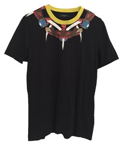 Givenchy Gucci Giuseppe Zanotti Hermes Louis Vuitton T Shirt Black with Yellow Collar