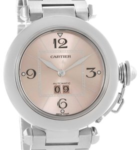 Cartier Cartier Pasha Big Date Pink Dial Steel Watch W31058M7 Box Papers
