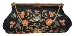French Vintage Vintage Handbag 1930's Silk Embroidered Holiday Gift Black Clutch