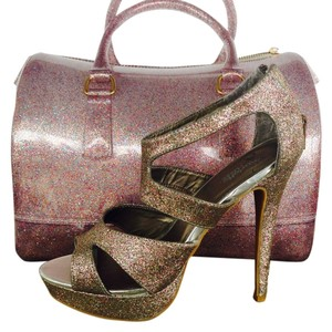 Pink silver multiple color Pumps